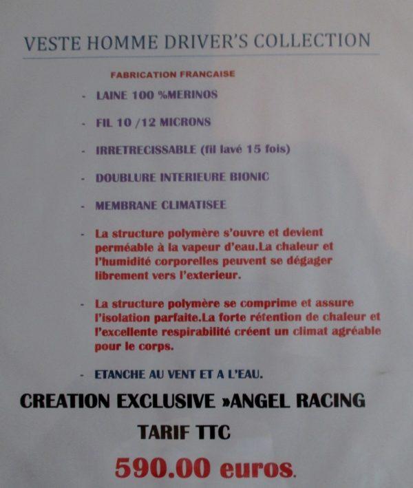 VESTE DRIVER'CLUB NOIRE EXCLUSIF